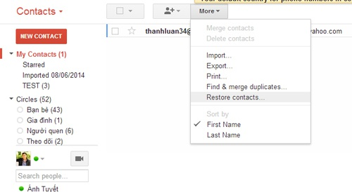 Cách khôi phục danh bạ bị xóa trong Gmail - ảnh 2